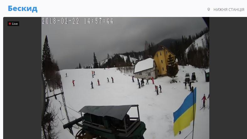 Веб-камера на схил, Бескид. 22.02.2018